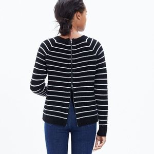 Madewell Palisade Back-Zip Sweater in Cable Stripe